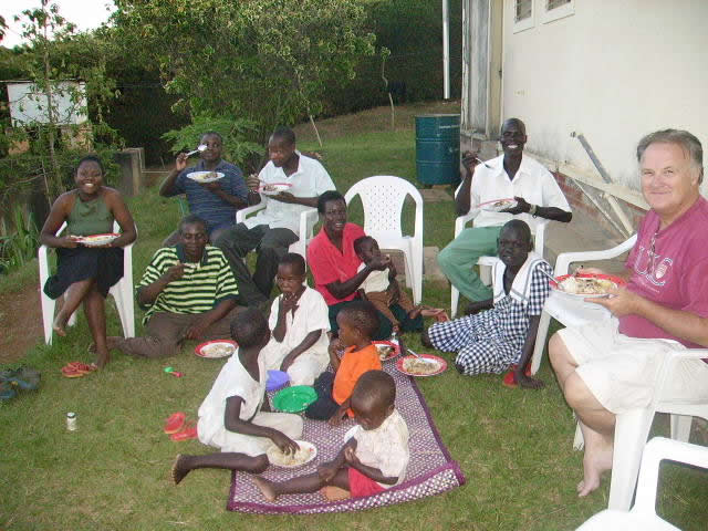 EWCV Children and Staff Eating Supper in the Backyard