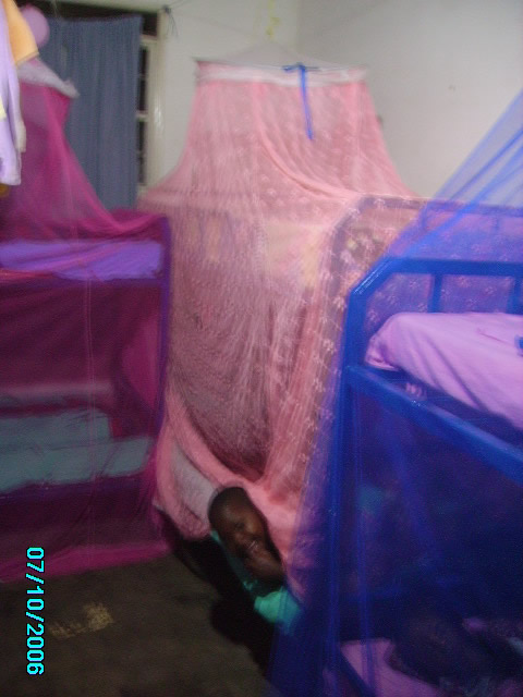 Bunk Bead under Colourful Mosquito Nets