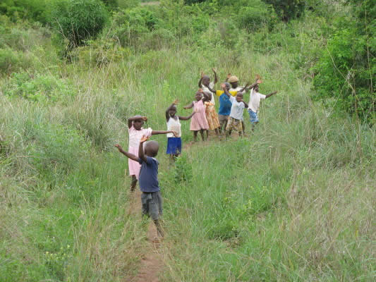 Nine Children Hiking on Property