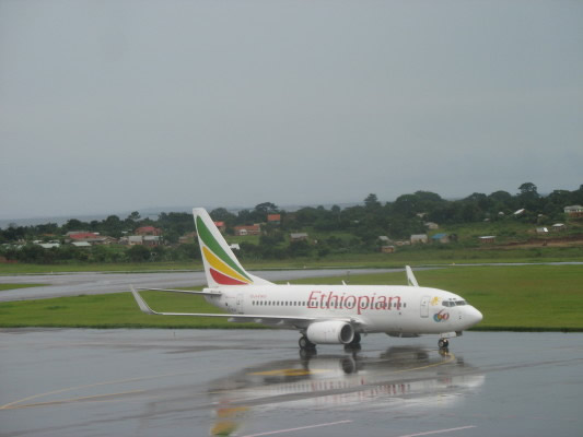 Ethiopian Airlines Plane, Carrying Bill and Ann, Arriving at Entebbe Airport