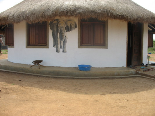 Elephant on EWCV Dining Hut, painted by volunteer, Mary