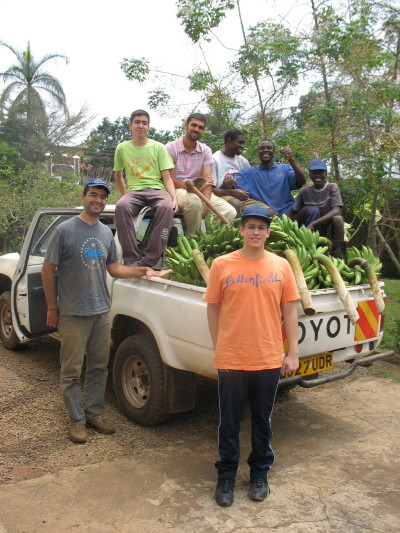 Seven Greek and Uganda Youth with a Truckload of Harvested Matooke