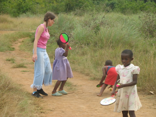Volunteer, Mary, Playing with EWCV Children