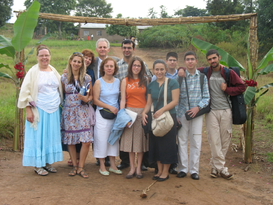 Ann and Volunteers outside St. Stephen's Church of Uganda, Kalungi