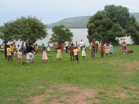 EWCV Children and Staff Playing a Circle Game by the Lake