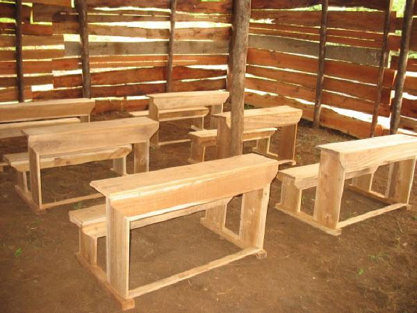 New, Wooden, Three-Student Desks