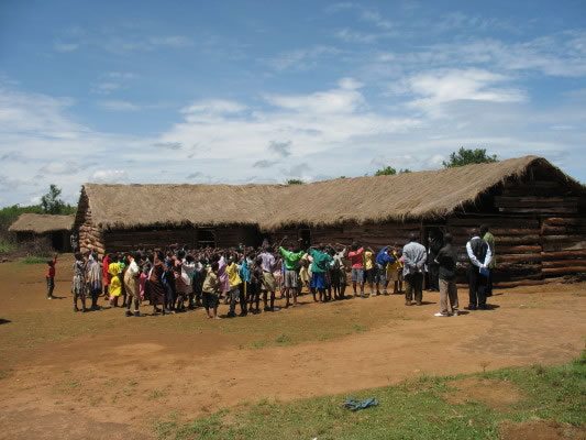Students Assembled Outside To Meet Lukaya Mayor and Town Clerk