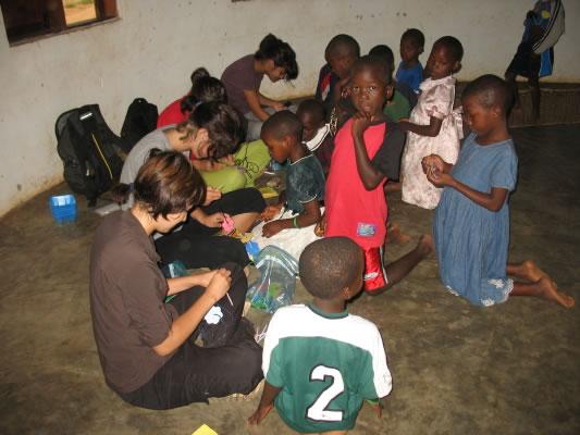 EWCV Children Doing Crafts with Canadian Volunteers