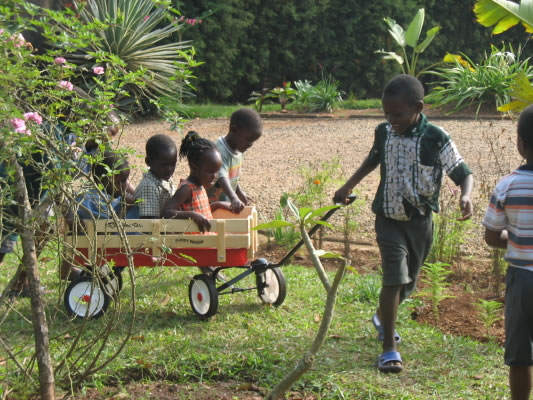 Five Family #3 Children Playing with New Wagon