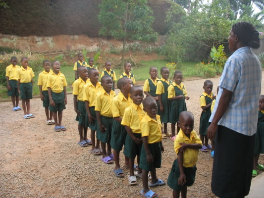 Primary Students Lined Up To Go into School