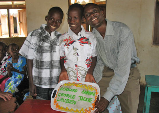 December Birthday Boys with Decoarated Cake