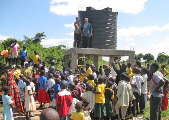 EWCV Children and Staff by Well Water Storage Tank