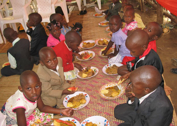 Family Children Enjoying Chirstmas Season Meal