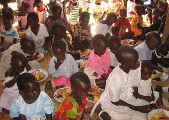 Children Eating Christmas Dinner