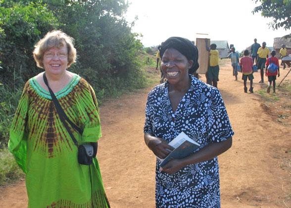Happy Ja Ja Ann and Maama Sarah Walking toward New School