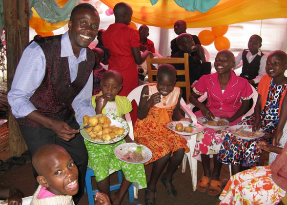 Allan Serving Christmas Day Dinner to Family Children