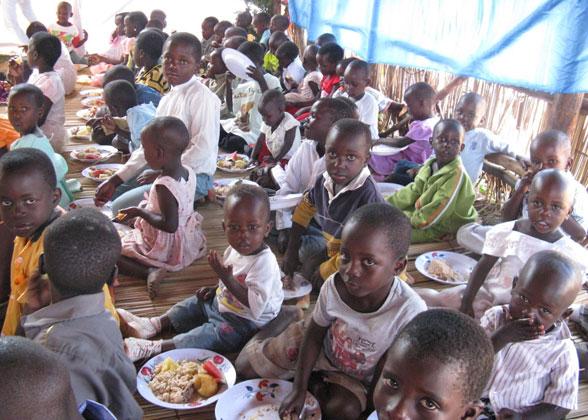 Children Enjoying Community ChristmasDinner