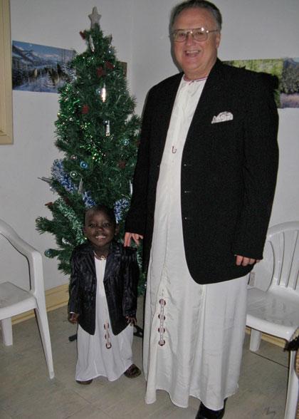 Ja Ja Bill and Elisha Dressed for Christmas Service