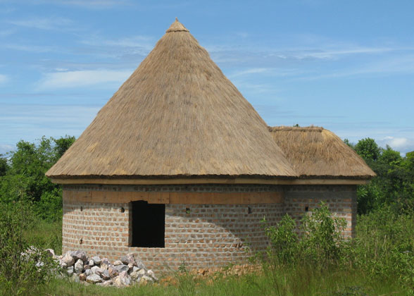 Boys' Sleeping Hut with Thatching Completed