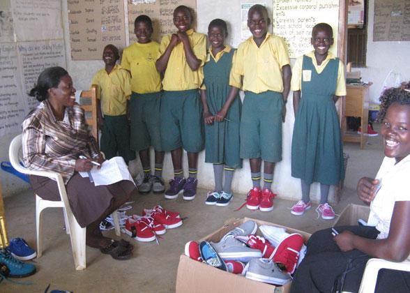School Children in New Shoes