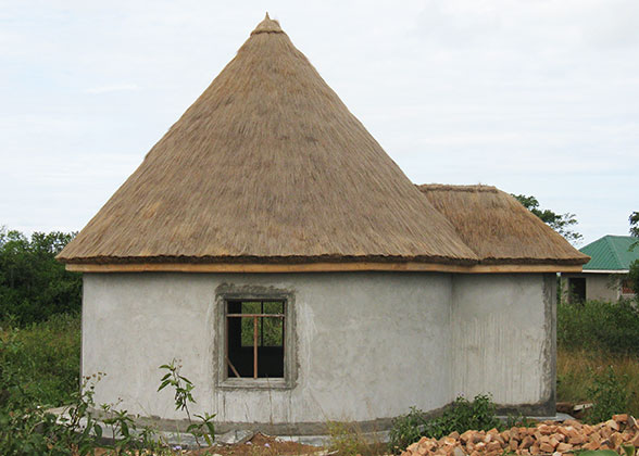 Boys' Sleeping Hut with Stuccoed Walls