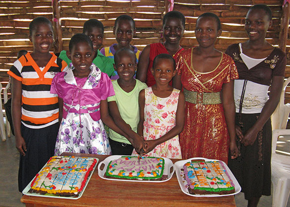 Children with their Birthday Cakes