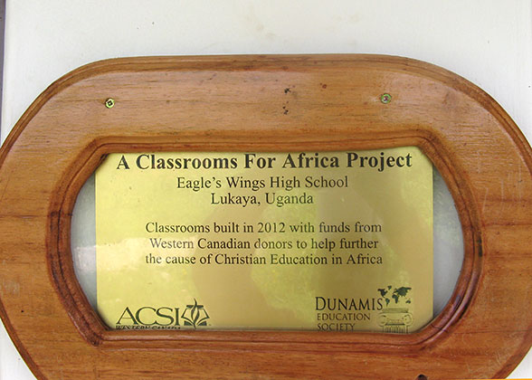 Classroom for Africa Plaque