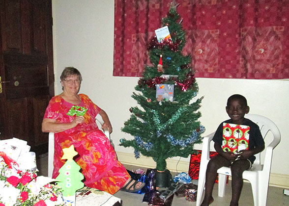 Ann and Elisha with Christmas Gifts