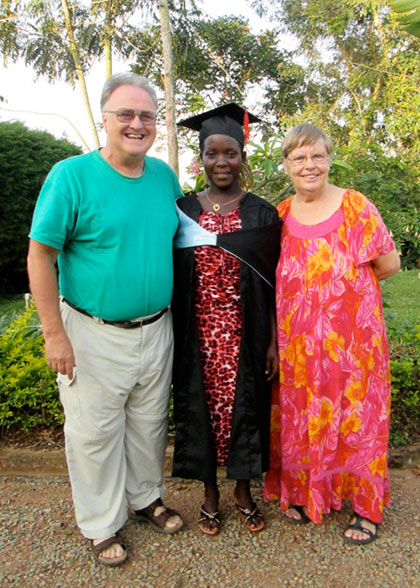 Bill and Ann Peckham, EWCV Directors, with Graduating Student