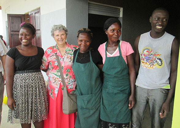 Sophia with EWCV Staff at Official Opening of School Kitchens