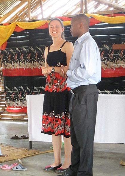 Canadian Board Member, Jaimee Speaking at Lubumba Community Church on EWCV Property