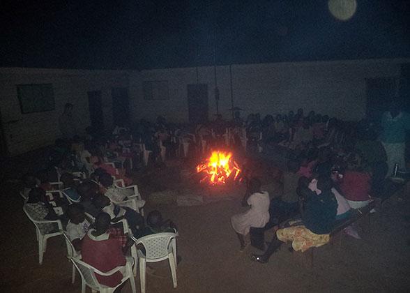 Children Singing around the Family Fun Weekend Bonfire