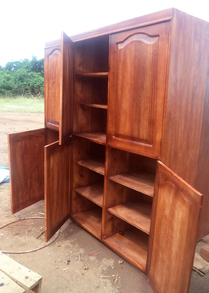 Each cabinet provides personal storage space for six children.