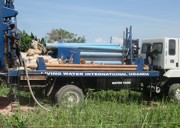 EWCV New Well Being Drilled by LIving Water International Uganda