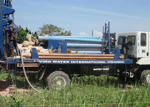 EWCV New Well Being Drilled by LIving Water International Uganda
