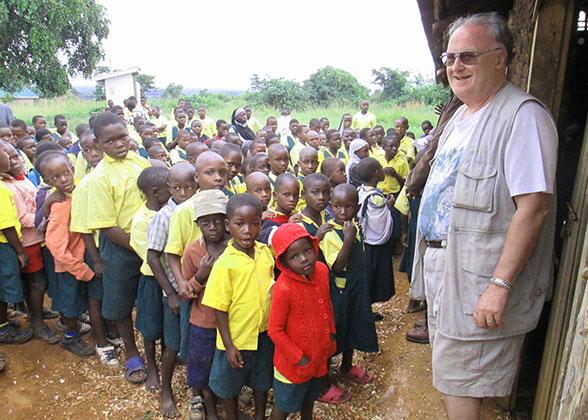 Children and Ja Ja Bill Waiting for Chickens