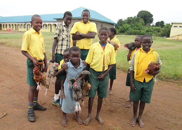 Children Taking Chickens Home