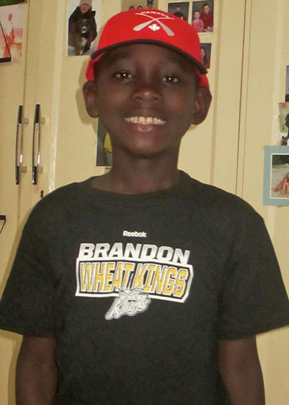 Elisha in Brandon Wheat Kings Shirt