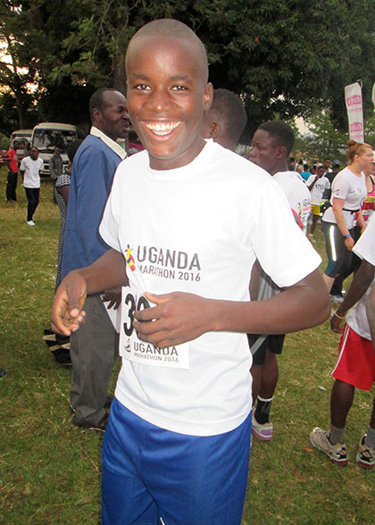 An EWCV Marathon Runner Smiling Broadly