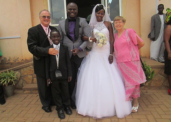 Bill, Ann, and Elisha with bride, school bursar, Beatrice, and her groom, Moses.