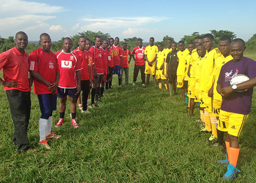 Male Staff and Students Teamsat the Official Opening of EWCV's New Soccer Field