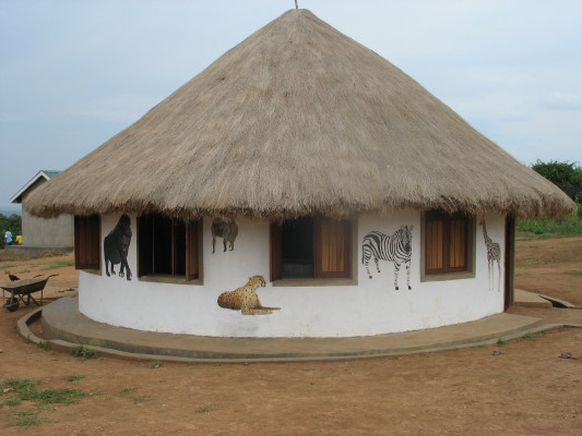 EWCV Dining Hut on which Mary Has Painted Five More African Animals