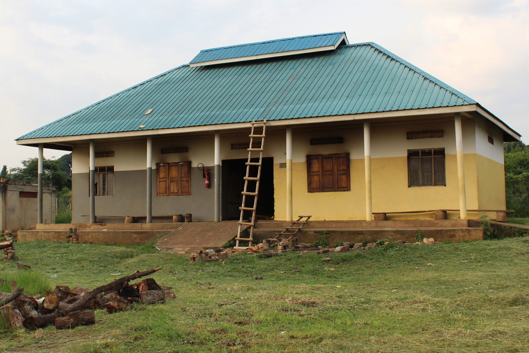 The School Kitchens Building with a New, Higher Roof To Accommodate New Chimneys.
