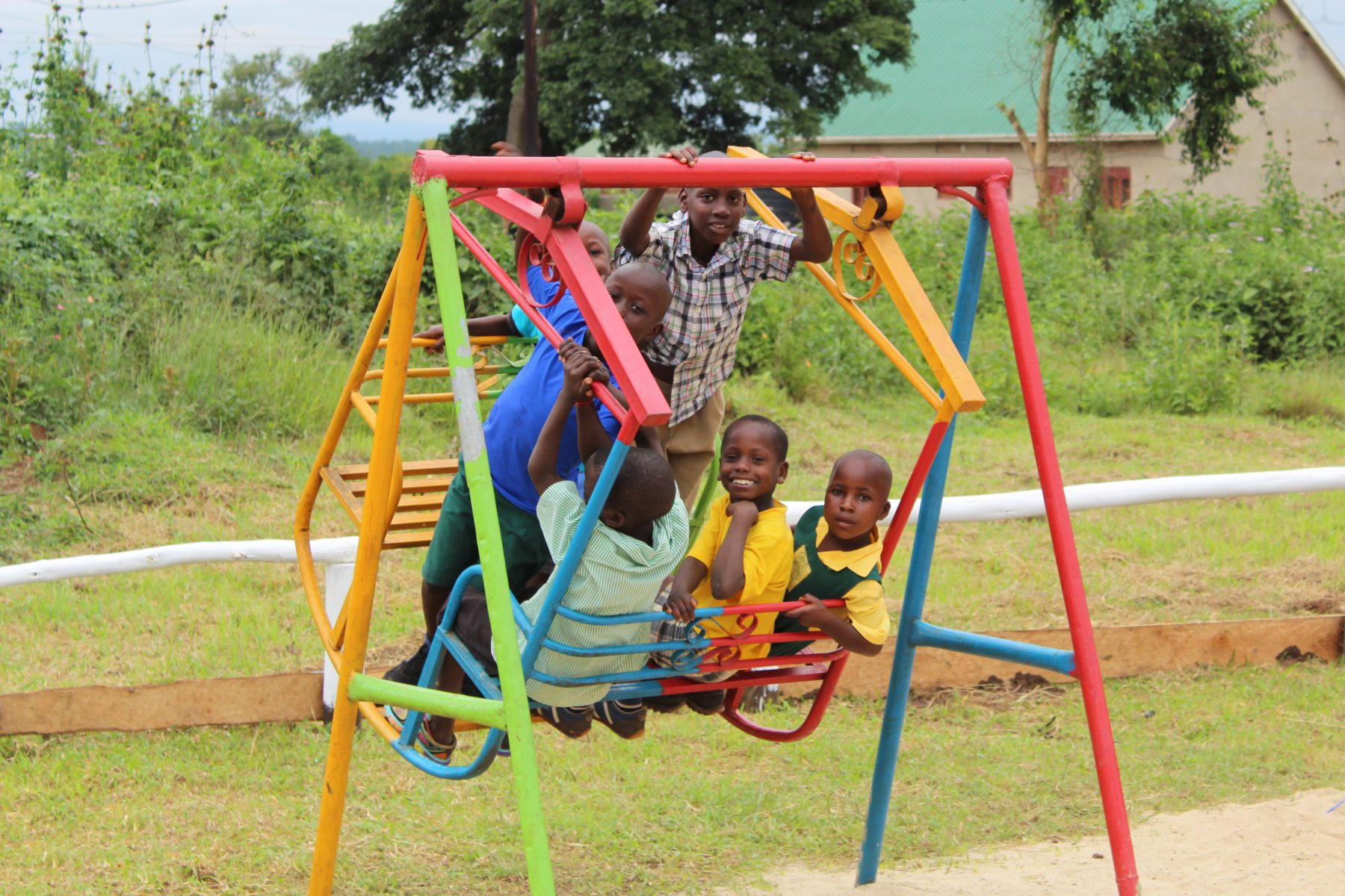 Six Happy Students Enjoying the Brightly Coloured Bench Swing